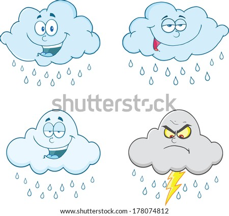 Raining Clouds Cartoon Characters. Set Vector Collection - stock vector