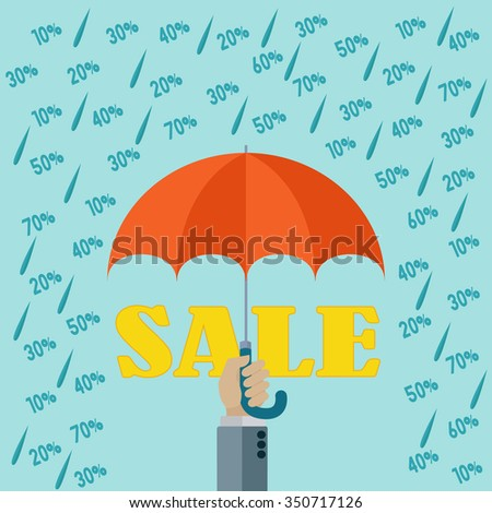 Raining discounts, sales season vector concept