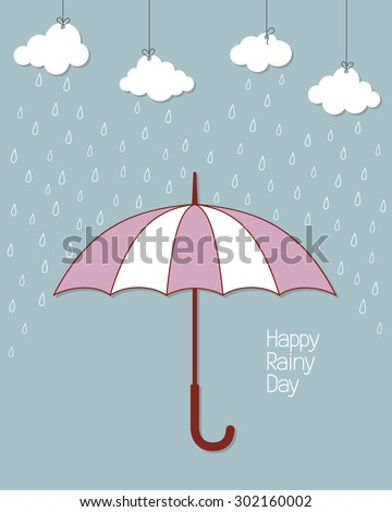 Rainy background with umbrella and hanging clouds