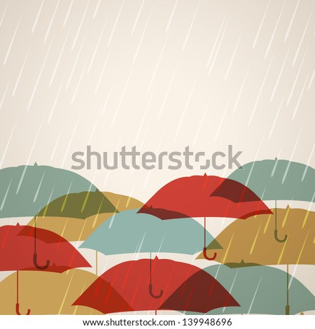 Rainy season background with raindrops and umbrellas, - stock vector