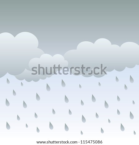 Rainy sky and clouds. Vector illustration, Rain.Vector image with dark clouds in wet day - stock vector