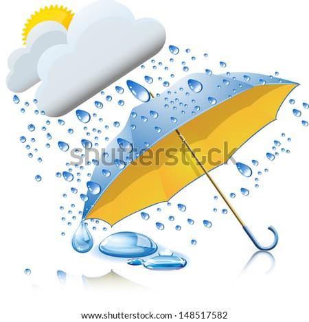 Rainy weather with umbrella - stock vector