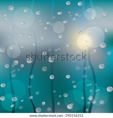 Rainy window background with bokeh lights. Vector illustration - stock vector