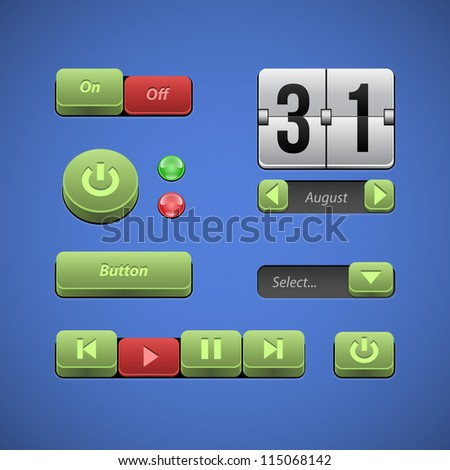 Raised Buttons Green And Red UI Controls Web Elements: Buttons, Switchers, On, Off, Player, Audio, Video: Play, Stop, Next, Pause, Arrows, Calendar, Date - stock vector