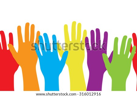 raised colors hands horizontal seamless pattern vector illustration