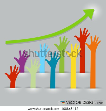 Raised hands, abstract vector illustration. - stock vector