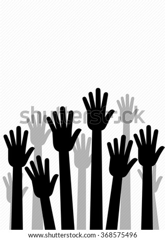 Raised Hands, Team work, Helping Hands - Illustration - stock vector