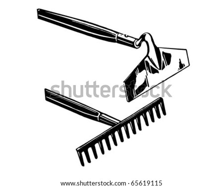 Rake And Hoe - Retro Clipart Illustration