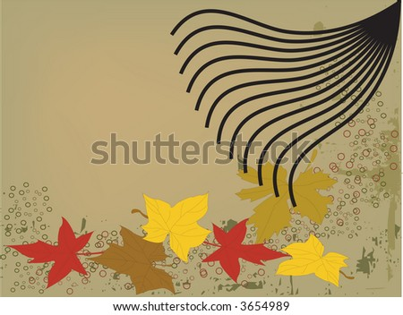 Raking Fall leaves on grunge background, in vector format. - stock vector