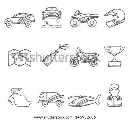 Rally icons in sketch - stock vector