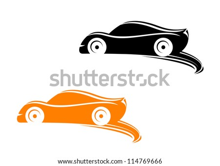 Rally racing cars in silhouette style with tyre shapes, such a logo template. Jpeg version also available in gallery - stock vector