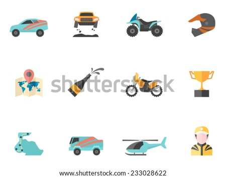 Rally related icons in flat colors style. - stock vector