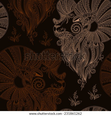 Rams Head Symbol New Year Christmas Stock Vector 231861262