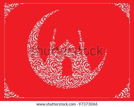 Ramadan & Eid Mubarak Greeting - stock vector