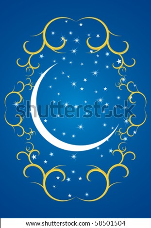 Ramadan evening, stars and crescents - stock vector