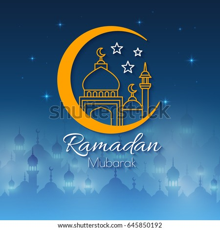 Ramadan greeting card celebration holy month stock vector hd ramadan greeting card for celebration of holy month vector night background with mosques landscape m4hsunfo Image collections