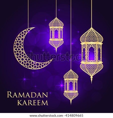 Ramadan greeting card on violet background stock vector 414809665 ramadan greeting card on violet background vector illustration ramadan kareem means ramadan is generous m4hsunfo Image collections