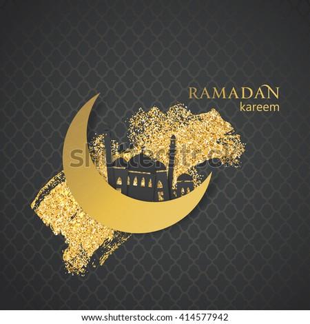 Ramadan greetings background. Ramadan kareem. Festive Ramadan card design. Paper mosque on golden glitter background. Vector illustration. - stock vector