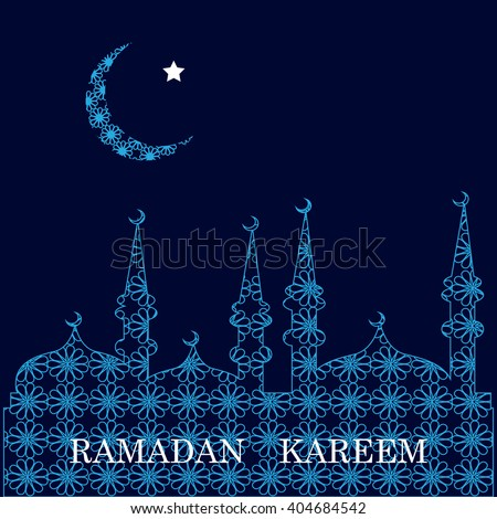 Ramadan greetings card. View of mosque in  blue night background. Vector illustration