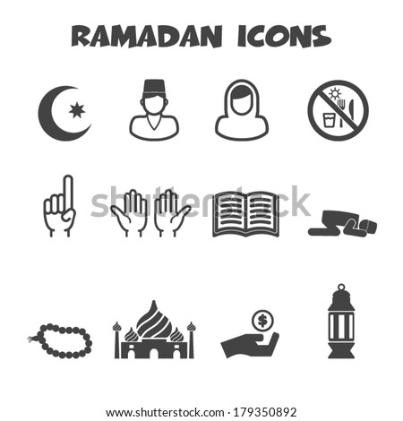 ramadan icons, mono vector symbols - stock vector