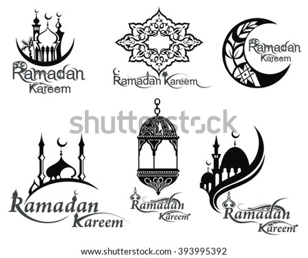 Ramadan icons set - stock vector