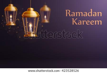 ramadan kareem background, ramadan kareem lanterns, ramadan holiday, vector illustration eps 10, ramadan greeting card with arabic text ramadan  - stock vector