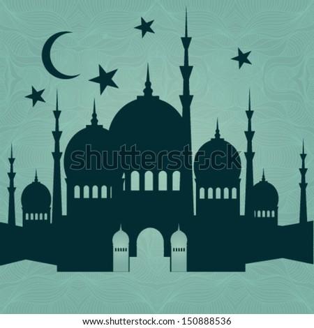 Ramadan Kareem background with 3d paper - stock vector