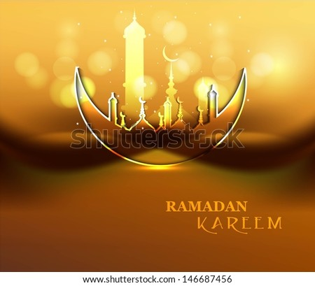 Ramadan Kareem celebration religious mosque and moon bright colorful design - stock vector