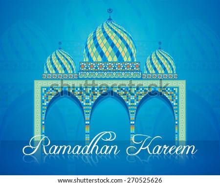 ramadan kareem geometric mosaic mosque - stock vector