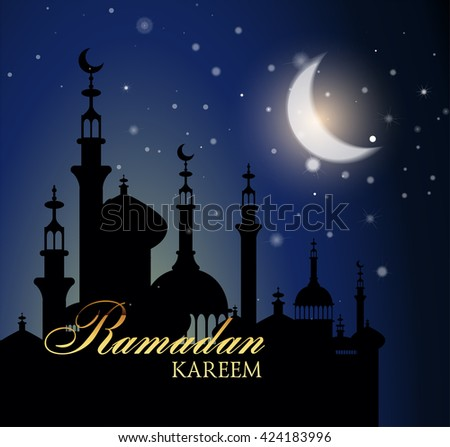 Ramadan Kareem greeting background with night sky and bright moon.  Illustration  of muslim holy month with mosque building. Vector Illustration.   - stock vector