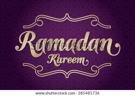 Ramadan Kareem greeting card. Holy month of muslim community Ramazan background with hanging arabic pattern. Purple background