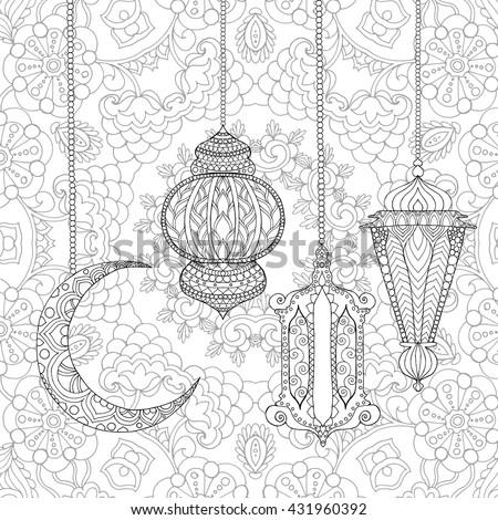 Ramadan Kareem Greeting Design Coloring Page Stock Vector Ramadan Coloring Pages