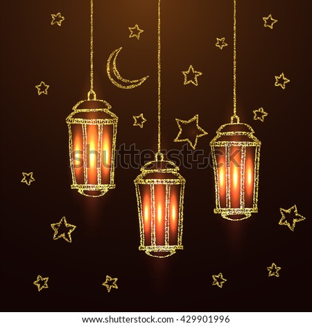 Ramadan Kareem greeting with golden lantern. Golden sand of stars and moon. Vector sketch illustration. - stock vector