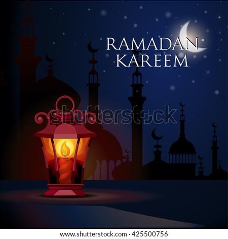 Ramadan Kareem islamic background. Eid mubarak. Islam holly month. Vector illustration of lighting lantern. Ramadan greeting template. Arabic design. Intricate Arabic lamp celebration Muslim festival. - stock vector