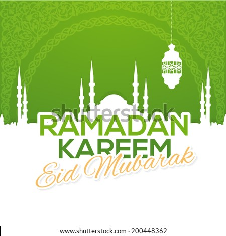 "Ramadan Kareem - Islamic Holy Nights Theme Vector Design - ""Eid Mubarak"" Arabic ""be Blessed"" at English - stock vector"