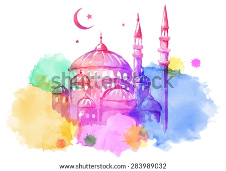Ramadan Kareem. Mosque night. Bright watercolor stains background. Vector watercolor illustration.