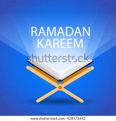 Ramadan Kareem Open Koran Muslim Religion Holy Month Flat Vector Illustration - stock vector