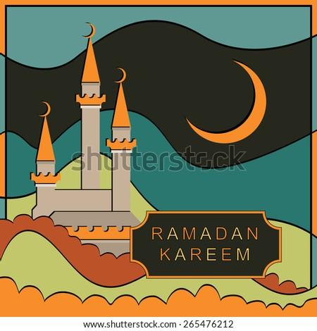 Ramadan Kareem vector design. Greeting card. Islamic background. - stock vector