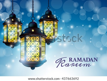 Ramadan Lantern or Fanous with Kareem Greetings in a blurry blue Background. 3D Realistic Vector Illustration