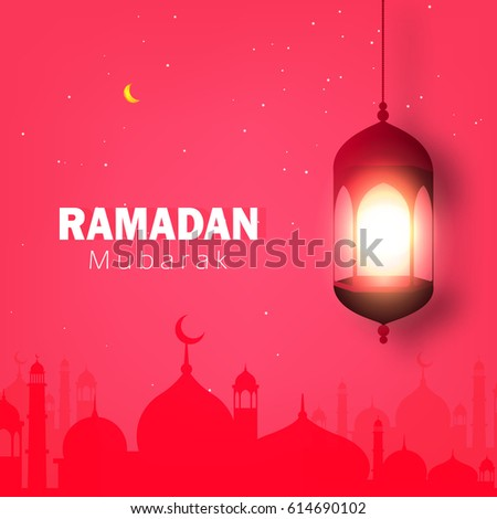 Ramadan Mubarak, Vector Illustration based on Evening scene with Masjid or Mosque in background and Hanging Shiny Lamp.