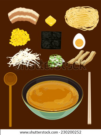 ramen with miso based soup.Japanese noodle - stock vector