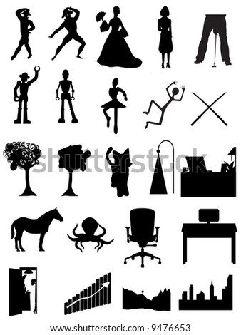 Random batch of silhouettes people, robots, offices, scenes - vector