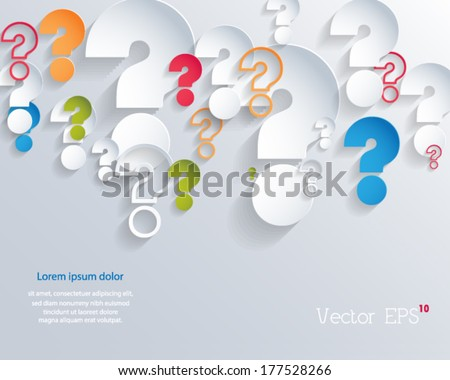 Random colorful 3d question marks background. Vector eps10.  - stock vector
