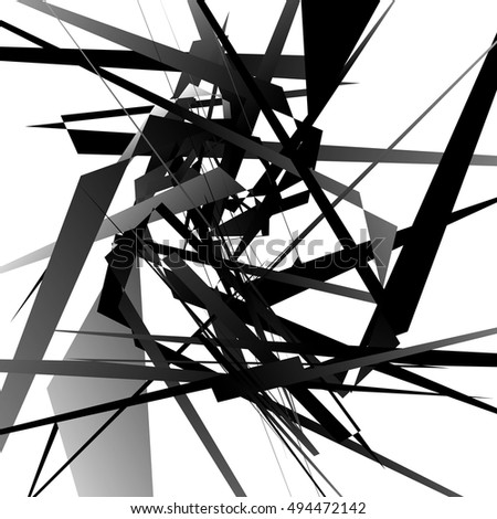 Random edgy, dynamic lines. Geometric monochrome art. Vector illustration.