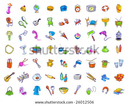 Random household objects - stock vector