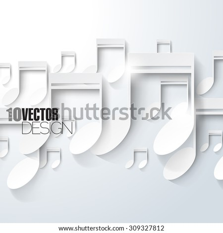Random overlapping white music notes in bright artistic eps10 vector background - stock vector