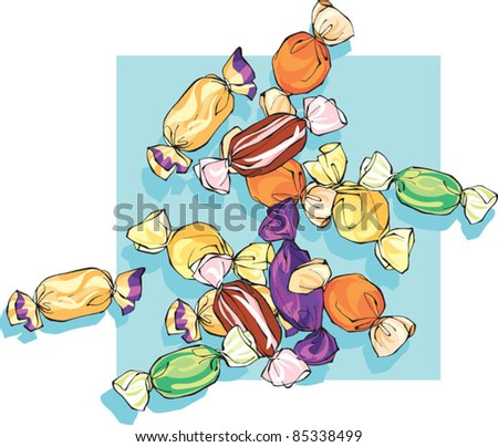 Random scattering of assorted wrapped sweets - stock vector