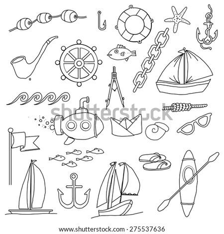 Random Sea, ocean items, objects hand drawn set, vector illustration - stock vector