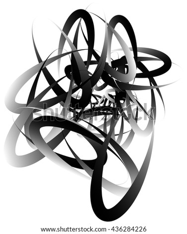 Random squiggly, curvy lines, abstract monochrome illustration. Overlapping tangled shapes. Black and white monochrome artistic vector image.