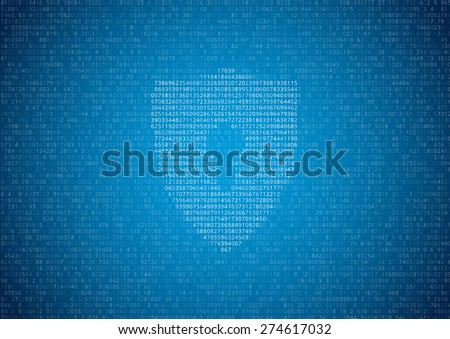 Random symbols. numbers and letters with lock sign - encrypted data vector blue background - stock vector